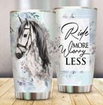 White Horse Ride More Worry Less Stainless Steel Tumbler Perfect Gifts For Horse Lover Tumbler Cups For Coffee/Tea, Great Customized Gifts For Birthday Christmas Thanksgiving