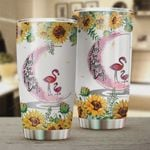 Flamingo Flower I Love You To The Moon And Back Stainless Steel Tumbler, Tumbler Cups For Coffee/Tea, Great Customized Gifts For Birthday Christmas Thanksgiving