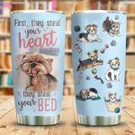 Yorkshire Terrier Steal Your Bed Stainless Steel Tumbler Perfect Gifts For Dog Lover Tumbler Cups For Coffee/Tea, Great Customized Gifts For Birthday Christmas Thanksgiving