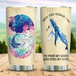Ocean Whale I Go To Free My Mind Stainless Steel Tumbler Perfect Gifts For Whale Lover Tumbler Cups For Coffee/Tea, Great Customized Gifts For Birthday Christmas Thanksgiving