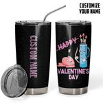 Personalized Happy Valentine's Day Stainless Steel Tumbler Perfect Gifts For Couple Tumbler Cups For Coffee/Tea, Great Customized Gifts For Birthday Christmas Thanksgiving Valentine's Day