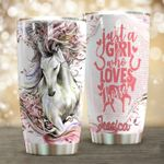 Personalized Just A Girl Who Loves Horse Stainless Steel Tumbler, Tumbler Cups For Coffee/Tea, Great Customized Gifts For Birthday Christmas Thanksgiving