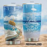 Personalized A Day At The Beach Gives Me Back My Peace Stainless Steel Tumbler, Tumbler Cups For Coffee/Tea, Great Customized Gifts For Birthday Christmas Thanksgiving