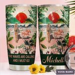 Personalized Flamingo The Waves Are Calling And I Must Go Stainless Steel Tumbler, Tumbler Cups For Coffee/Tea, Great Customized Gifts For Birthday Christmas Thanksgiving