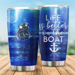 Life Is Better On The Boat Astronauts Stainless Steel Tumbler Perfect Gifts For Boat Lover Tumbler Cups For Coffee/Tea, Great Customized Gifts For Birthday Christmas Thanksgiving