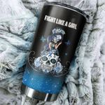 Prostate Cancer Awareness Sugar Skull Girl Fight Like A Warrior Stainless Steel Tumbler Perfect Gifts For Skull Lover Tumbler Cups For Coffee/Tea, Great Customized Gifts For Birthday Christmas Thanksgiving