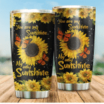 Sunflower Monarch Butterfly You Are My Sunshine Stainless Steel Tumbler Perfect Gifts For Sunflower Lover Tumbler Cups For Coffee/Tea, Great Customized Gifts For Birthday Christmas Thanksgiving