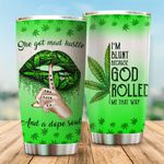 Weed She Got Mad Hustle And A Dope Soul Glitter Stainless Steel Tumbler Perfect Gifts For Weed Lover Tumbler Cups For Coffee/Tea, Great Customized Gifts For Birthday Christmas Thanksgiving