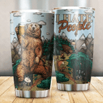 Bear Drinks Beer I Hate People Stainless Steel Tumbler, Tumbler Cups For Coffee/Tea, Great Customized Gifts For Birthday Christmas Thanksgiving