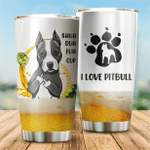 Beer I Love Pitbull Stainless Steel Tumbler, Tumbler Cups For Coffee/Tea, Great Customized Gifts For Birthday Christmas Thanksgiving