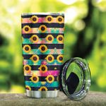 Sunflower Stripped Pattern Stainless Steel Tumbler, Tumbler Cups For Coffee/Tea, Great Customized Gifts For Birthday Christmas Thanksgiving