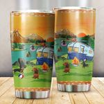 Dachshund Camping By The River Stainless Steel Tumbler, Tumbler Cups For Coffee/Tea, Great Customized Gifts For Birthday Christmas Thanksgiving