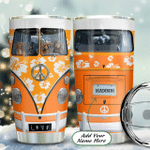 Personalized Orange Hibiscus Hippie Van Dog Stainless Steel Tumbler Perfect Gifts For Hippie Tumbler Cups For Coffee/Tea, Great Customized Gifts For Birthday Christmas Thanksgiving