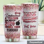 Personalized Never Underestimate A Teacher Who Survived Stainless Steel Tumbler Perfect Gifts For Teacher Tumbler Cups For Coffee/Tea, Great Customized Gifts For Birthday Christmas Thanksgiving