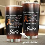 Personalized Kidney Cancer Awareness A Girl Who Kicked Cancer's Ass Stainless Steel Tumbler Perfect Gifts For Cancer Fighter Tumbler Cups For Coffee/Tea, Great Customized Gifts For Birthday Christmas Thanksgiving