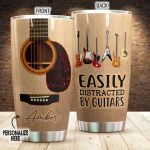 Personalized Easily Distracted By Guitars Stainless Steel Tumbler, Tumbler Cups For Coffee/Tea, Great Customized Gifts For Birthday Christmas Thanksgiving