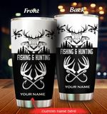 Personalized Deer Hunting Fishing Stainless Steel Tumbler Perfect Gifts For Hunting And Fishing Lover Tumbler Cups For Coffee/Tea, Great Customized Gifts For Birthday Christmas Thanksgiving