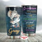 Personalized Elephant To My Grandson From Grandma A Little Boy Who Stole My Heart Stainless Steel Tumbler Perfect Gifts For Elephant Lover Tumbler Cups For Coffee/Tea, Great Customized Gifts For Birthday Christmas Thanksgiving