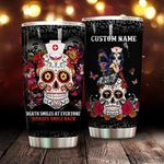 Personalized Sugar Skull Nurses Smile Back Stainless Steel Tumbler Perfect Gifts For Skull Lover Tumbler Cups For Coffee/Tea, Great Customized Gifts For Birthday Christmas Thanksgiving