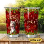 Personalized Pitbull Dog Christmas Stainless Steel Tumbler Perfect Gifts For Dog Lover Tumbler Cups For Coffee/Tea, Great Customized Gifts For Birthday Christmas Thanksgiving