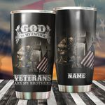 Personalized God Is My Father Veterans Are My Brothers Stainless Steel Tumbler Perfect Gifts For Veteran Tumbler Cups For Coffee/Tea, Great Customized Gifts For Birthday Christmas Thanksgiving Father's Day