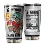 Personalized Welder Skull Nutrition Facts Stainless Steel Tumbler Perfect Gifts For Welder Lover Tumbler Cups For Coffee/Tea, Great Customized Gifts For Birthday Christmas Thanksgiving
