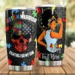 Personalized Autism Warrior Fighting For My Son Stainless Steel Tumbler, Tumbler Cups For Coffee/Tea, Great Customized Gifts For Birthday Christmas Thanksgiving