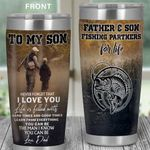 Personalized Fishing To My Son From Dad Learn From Everything You Can Be Stainless Steel Tumbler Perfect Gifts For Fishing Lover Tumbler Cups For Coffee/Tea, Great Customized Gifts For Birthday Christmas Thanksgiving