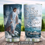 Personalized Jesus Christ Let Your Faith Be Bigger Stainless Steel Tumbler Perfect Gifts For Jesus Lover Tumbler Cups For Coffee/Tea, Great Customized Gifts For Birthday Christmas Thanksgiving