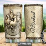 Personalized White Horse Vintage Stainless Steel Tumbler Perfect Gifts For Horse Lover Tumbler Cups For Coffee/Tea, Great Customized Gifts For Birthday Christmas Thanksgiving