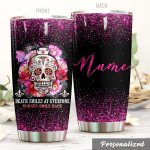 Personalized Nurse Skull Death Smiles At Everyone Nurses Smile Back Stainless Steel Tumbler, Tumbler Cups For Coffee/Tea, Great Customized Gifts For Birthday Christmas Thanksgiving