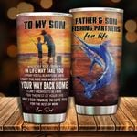 Personalized Fishing To My Son From Dad Fishing Partner For Life Stainless Steel Tumbler Perfect Gifts For Fishing Lover Tumbler Cups For Coffee/Tea, Great Customized Gifts For Birthday Christmas Thanksgiving