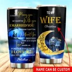 Personalized Family To My Wife From Husband I Love You To The Moon Stainless Steel Tumbler Perfect Gifts For Couple Tumbler Cups For Coffee/Tea, Great Customized Gifts For Birthday Christmas Thanksgiving