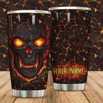Personalized Fire Skull Stainless Steel Tumbler Perfect Gifts For Skull Lover Tumbler Cups For Coffee/Tea, Great Customized Gifts For Birthday Christmas Thanksgiving