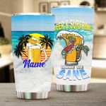 Personalized Beach Beer And Surfring Make Me Sane Stainless Steel Tumbler Perfect Gifts For Beach Lover Tumbler Cups For Coffee/Tea, Great Customized Gifts For Birthday Christmas Thanksgiving