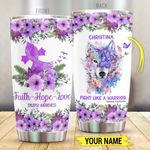 Personalized Epilepsy Wolf Fight Like A  Warrior Stainless Steel Tumbler Perfect Gifts For Wolf Lover Tumbler Cups For Coffee/Tea, Great Customized Gifts For Birthday Christmas Thanksgiving