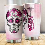 Nurse Sugar Skull Flower Stainless Steel Tumbler Perfect Gifts For Skull Lover Tumbler Cups For Coffee/Tea, Great Customized Gifts For Birthday Christmas Thanksgiving