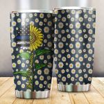 Police Sunflower Daisy Blue Lives Matter Stainless Steel Tumbler Perfect Gifts For Police Tumbler Cups For Coffee/Tea, Great Customized Gifts For Birthday Christmas Thanksgiving