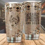 Flower Pattern Easily Distracted By Horses And Dogs Stainless Steel Tumbler Perfect Gifts For Horse And Dog Lover Tumbler Cups For Coffee/Tea, Great Customized Gifts For Birthday Christmas Thanksgiving