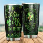 Irish St. Patrick's Day Kiss Me I'm Irish Stainless Steel Tumbler Perfect Gifts For Irish Lover Tumbler Cups For Coffee/Tea, Great Customized Gifts For Birthday Christmas Thanksgiving St Patrick's Day