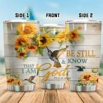Hummingbird Sunflower I Am God Stainless Steel Tumbler Perfect Gifts For Hummingbird Lover Tumbler Cups For Coffee/Tea, Great Customized Gifts For Birthday Christmas Thanksgiving