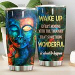 Buddha Something Wonderful Is About To Happen Stainless Steel Tumbler Perfect Gifts For Buddha Lover Tumbler Cups For Coffee/Tea, Great Customized Gifts For Birthday Christmas Thanksgiving