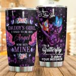 Butterfly Daddy's Girl Whisper I Love You Stainless Steel Tumbler Perfect Gifts For Butterfly Lover Tumbler Cups For Coffee/Tea, Great Customized Gifts For Birthday Christmas Thanksgiving