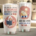 Book And Wine She Lived Happily Ever After Stainless Steel Tumbler Perfect Gifts For Wine Lover Tumbler Cups For Coffee/Tea, Great Customized Gifts For Birthday Christmas Thanksgiving