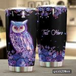 Personalized Glowing Purple Owl Stainless Steel Tumbler Perfect Gifts For Owl Lover Tumbler Cups For Coffee/Tea, Great Customized Gifts For Birthday Christmas Thanksgiving