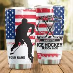 Personalized Ice Hockey American Flag I Act Like I'm Ok Stainless Steel Tumbler Perfect Gifts For Ice Hockey Lover Tumbler Cups For Coffee/Tea, Great Customized Gifts For Birthday Christmas Thanksgiving