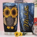 Personalized Sunflower Owl Stainless Steel Tumbler, Tumbler Cups For Coffee/Tea, Great Customized Gifts For Birthday Christmas Thanksgiving