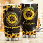 Personalized Hippie Symbol Sunflower Stainless Steel Tumbler Perfect Gifts For Sunflower Lover Tumbler Cups For Coffee/Tea, Great Customized Gifts For Birthday Christmas Thanksgiving