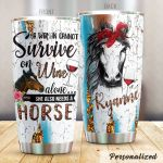 Personalized Wine Also Need A Horse Horse Stainless Steel Tumbler Tumbler Cups For Coffee/Tea Perfect Customized Gifts For Birthday Christmas Thanksgiving Awesome Gifts For Horse Lovers