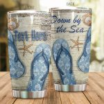 Personalized Beach Flip Flops Down By The Sea Stainless Steel Tumbler Perfect Gifts For Beach Lover Tumbler Cups For Coffee/Tea, Great Customized Gifts For Birthday Christmas Thanksgiving